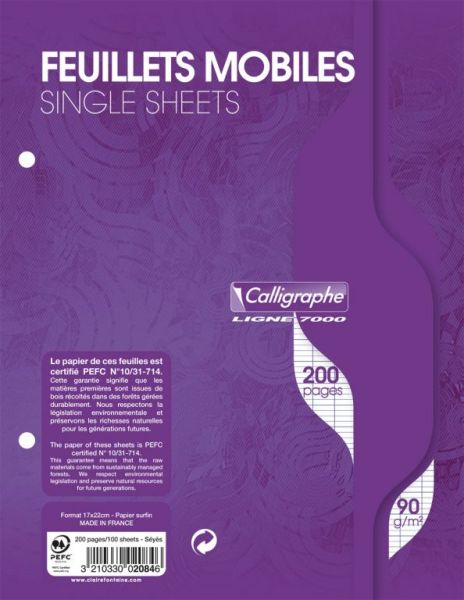 Feuillets mobiles 17x22 grands carreaux 200 pages