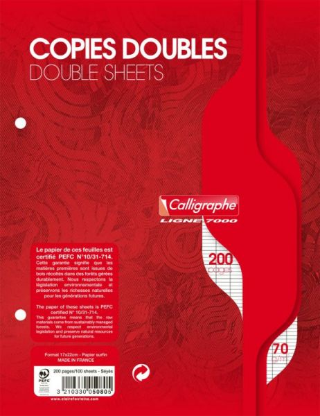 Copies doubles 17x22 grands carreaux 200 pages