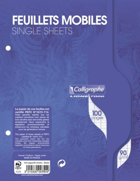 Feuillets mobiles 17x22 grands carreaux 100 pages